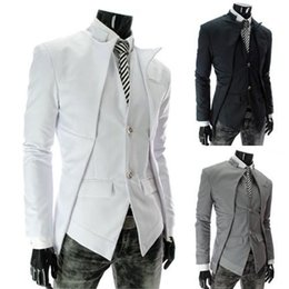 2015 Men Suits new men's asymmetric design fake two piece leisure suit boys suits wedding suits CY124