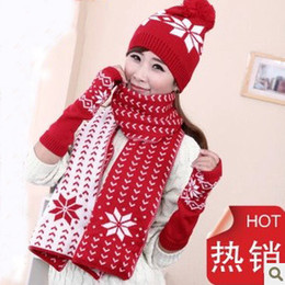 Wholesale-2015 autumn and winter new style girl scarf set snow fashion hats \glove\scarf\ three-piece keep warm christmas gift