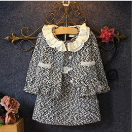 Wholesale Spring Autumn New Collection Sets Girls Korean Style Woolen Outfits European Sleeveless Princess Dress Coat Two Piece Suits