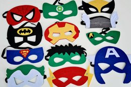 Wholesale 2015 New Baby Girls Costume Mask Deluxe Felt Superhero Mask Superman Spiderman Batman Captain America Green lantern hulk