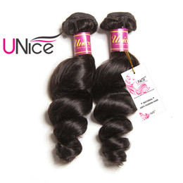 UNice Hair Brazilian Loose Wave 1Piece Hair Bundles 16-26inch Non Remy Natural Color 100% Human Hair Extensions