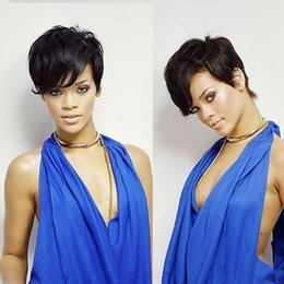 Wholesale Premierlacewigs Rihanna Style Short Cut Glueless Cap B Indian Remy Human Hair Machine Made Wig For Black Women In Stock Fast Shipping