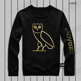 Wholesale 100 Cotton Men s Sportwear Coat Jogger Tracksuit Pullover Fleece Sweatshirt Crewneck Bird OVO Drake Black Hip Hop Hoodie Men