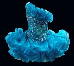 Wholesale 2016 Glitz A Line Cupcake Organza Girls Pageant Dresses Sparkle Strapless Beading Short Formal Girls Party Prom Gowns Handmade Flower BO6562