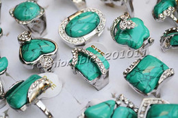 Ring Jewelry Lot CZ Rhinestone Turquoise & Alloy with Silver P Rings Jewelry Fashion Stone Rings