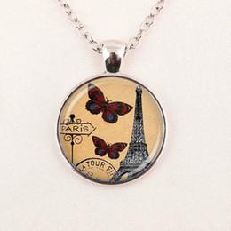 Wholesale Eiffel tower paris pendant butterfly necklace postcard handmade jewelry pendant glass gemstone necklace