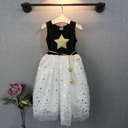 Wholesale Summer New Girl Dress Five pointed star pattern sleeveless lace Gauze Princess TuTU Dress kids clothing C001