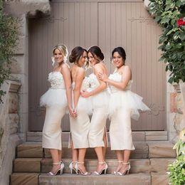 2016 Sexy Sheath Ivory Bridesmaid Dresses Cheap Spaghetti Strapless Tea Length Wedding Party Formal Dresses Vestidos de Festa Evening Gowns