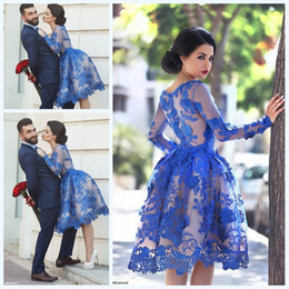 2019 Royal Blue Knee Length Homecoming Dresses Long Sleeves Lace Flowers Short Formal Cocktail Party Dresses Prom Gowns