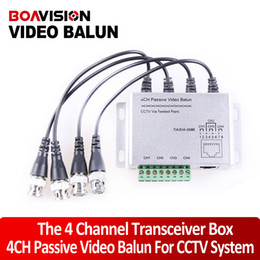 Pasivo video balun 4ch en Línea-CCTV 4CH pasivo video BNC a UTP RJ45 cámara DVR Balun, 4CH Balun video pasivo con cables