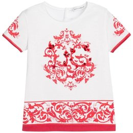 Summer Style Fashion New Baby Girls T shirts White And Blue Porcelain Casual Girls tshirt tee shirts Kids Brand T-shirt Short Sleeve