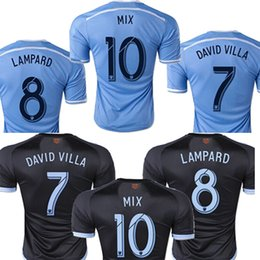 Wholesale Top quality New York City jersey DAVID VILLA LAMPARD MIX home blue away black men shirt New York City soccer jersey
