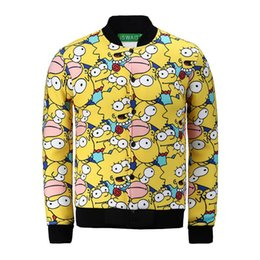 Wholesale 2015 Winter men women d Funny Bart Simpson print jacket baseball sports outdoor tracksuit Fashion outerwear coats