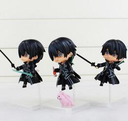 Аниме искусство для продажи-2016 Аниме Sword Art Online Kirigaya Kazuto Q Версия ПВХ Action3pcs / комплект 8.5cm Цифры Коллекционная игрушки Бесплатная доставка