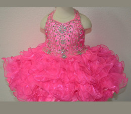 New Fuchsia Rosie Girls Kids Pageant Dresses Formal Occasion Tiers Beaded Organza Halter Mini Prom Party Baby Little Girl Gowns 2019 Hot New
