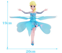 Wholesale NEW Frozen Flying Princess Elsa RC Helicopter Toy Small Flying Doll Induction Helicopter Girls best gift Free EMS