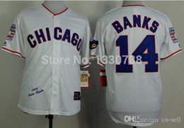 Wholesale 2015 New Chicago Cubs Ernie Banks Jersey White Home Stitched Cheap Mens Retro Throwback Cubs Baseball Jerseys Shirts