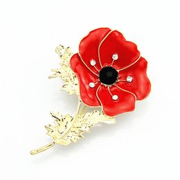 2.6 Inch Red Emerald Poppy Pin Brooch Gold Tone Poppy Flower Brooches UK Fashion BROOCH