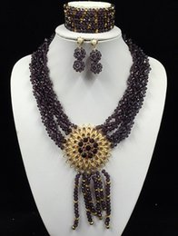 Wholesale Gorgeous New Nigerian Beads Jewelry Set Fashion Carrick Bend African Crystal Jewelry Set LF1016
