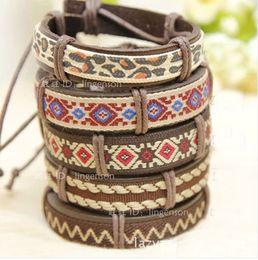 Wholesale Pope Pattern Vintage Genuine Leather Bracelets Indian Jewelry Handmade Men Women Charms Bracelets Hot Sale