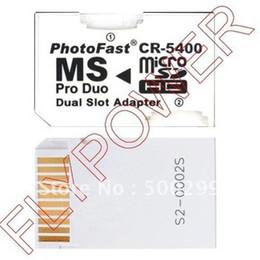 Promotion adaptateurs duo memory stick Gros-Dual Micro SD TF Memory Stick MS Pro Duo adaptateur de carte par Livraison gratuite; 100pcs / lot