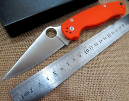 Wholesale Best quality Spyderco C81GPCMO2 Paramilitary Knife C81 knife S30V Orange G handle white blade realy picture