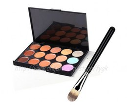 2018 professional New 15 Colors Concealer Palette Contour Face Cream Makeup Camouflage Concealer Palette Powder Brush free shipping