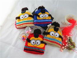 Wholesale Cloche Crochet Wholesale - New Christmas Children Cap minions Baby hats knit hat girls boys beanie winter toddler kids boy girl faux warm crochet cap children's