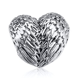 Wholesale Love Heart Chains - Wholesale 925 Sterling Silver Charm Wings Feather Hearts European Charms Beads Fit Pandora Snake Chain Bracelet DIY Fashion Jewelry