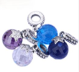 Wholesale Cz Blue Pendant - Fits for pandora bracelets silver charms Authentic 925 sterling silver beads moon and stars clear CZ and Midnight Blue crystal pendant 1PCS