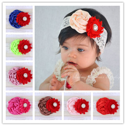 Photography Baby Lace Shabby Chiffon Flower Headbands Kids Elastic Rhinestone Hairbands Hair Accessories Rose Flower Hair band Headwear