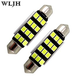 WLJH CANBUS NO ERROR Led 41mm 42mm Festoon For Samsung 2835SMD White Car Light SV8,5 264 C5W Led Number Plate Interior Light