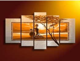 Wholesale Hand painted wall art African desert sun Home Decoration Modern Landscape Oil Painting on canvas