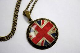 Wholesale 10pcs Union Jack Flag Necklace Antique Union Jack Jewelry Glass Cabochon Necklace