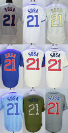 Factory Outlet Mens Womens Kids Chicago 21 Sammy Sosa Beige Blue Green Grey White Stitched Embroidery Cheap Flex Cool Baseball Jerseys