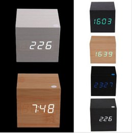 Wholesale promotion Multi colors Best High end Digital Clocks Desktop Clock Home Decor Thermometer Wooden LED Alarm Clock
