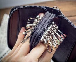2017 à double bourse de portefeuille Titulaires gros-arrivée de nouveaux hommes en cuir véritable sac Porte-Monnaie Double Zipper portefeuilles clés Mode féminine Gouvernante Key Card à double bourse de portefeuille sortie