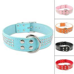 Wholesale-1.5inch Wide Leather 3 Rows Rhinestone Medium Large Pet Dog Collar 5 Collars 2 Sizes