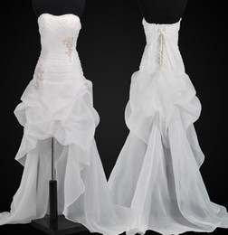 2014 Appliques Ruffles Beaded A line Beach Wedding Dresses Under 100 High Low Organza Lace Up Bridal Dress Gowns Cheap Fashion