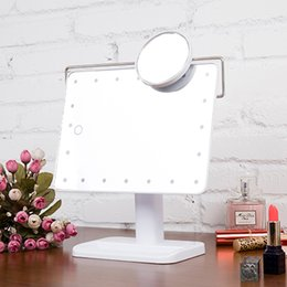 Wholesale 180 Degree Rotation LED Light Operated Cordless Touch Screen Lighted Vanity Cosmetic Mirror With Magnifying Glass Lens Makeup Mirror