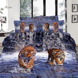 Wholesale 2015 Cheap Bedding set Edredon D Jogo de Cama Tigers Deuvet Covers Purple Quilts without Comforter Cotton Reactive Printing