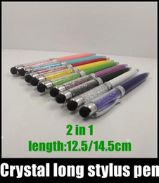Crystal long stylus pen Touch Screen Pen ball capacitive stylus pen ball 14.5cm 12.5cm for ipad iphone 6 s5 note3 HTC LG blackberry STY007