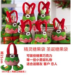Wholesale Christmas Gift Bag Elf Santa Pants Style Candy Sugers Bags Xmas Cotton Bag for Children Kids Party Decoration Supplies Free DHL Cute Kids