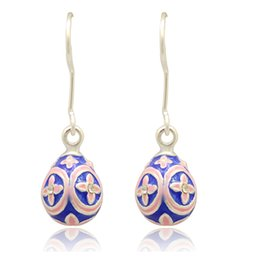 Ladies Fashion Easter Egg Flower Faberge Egg Earring Charm Silver Gold Plating Easter Day Dangle Drop Earring