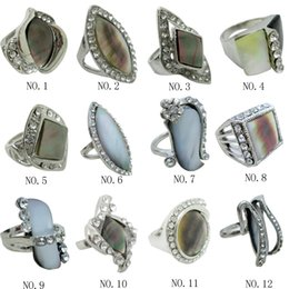 New Promotion Mix Style Silver Rings for Women With Black Shell Rings Jewelry Alloy Finger Ring Abalone Shell Ring Jewelry Shell Natural