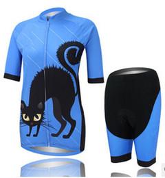 Promotion cuissard vente New summer black cat women Maillots de cyclisme manches courtes avec pantalons de bavarder femme bodybuildling aucun pantalon de vélo ensembles de maillots vente en vrac