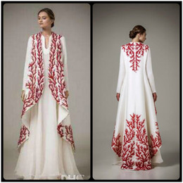 2016 White Satin Evening Dresses With Red Embroidery Arab Muslim Dress Ethnic Arab Robes With Long Sleeves Malaysia Middle East Only Coat