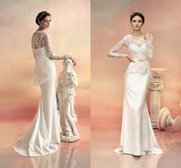Wholesale Big Discount Beauty Design Lace Mermaid Wedding Dresses With Long Sleeves Plus Size Bridal Gowns Sexy Backless Plus Size Wedding Gowns Cheap