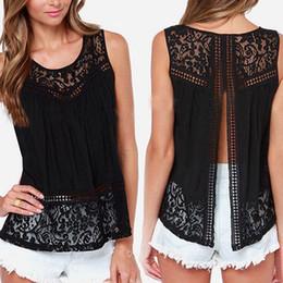 2015 Summer Women Chiffon Crochet Lace vest Blouse Shirt Sexy Open Back sleeveless shirts tank tops Black Blusas Femininas
