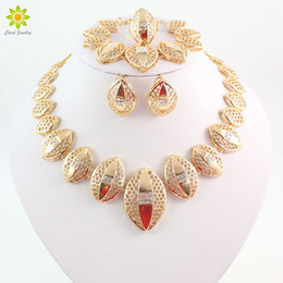 18K Gold Plated Jewelry Sets African Necklace Earrings Costume Jewelry Set Nigerian Wedding African Fashion Jewelry Set